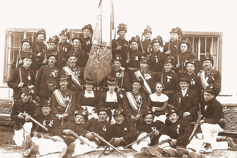 Schützenkompanie, Uniform, Fahnenmutter, Fahnenpatin, 1930